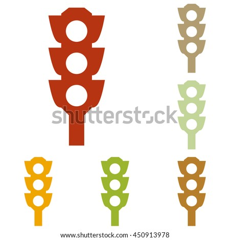 Traffic light sign. Colorful autumn set of icons. - stock photo