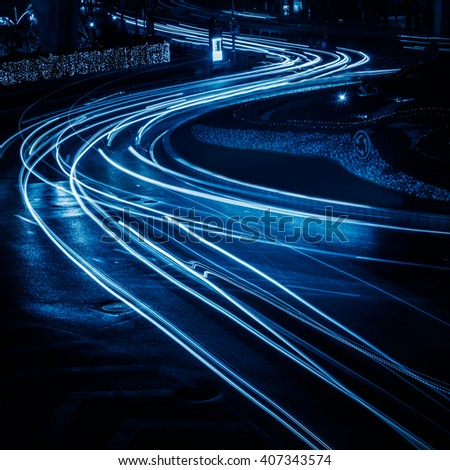 traffic light trails - stock photo