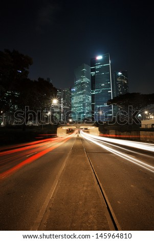 Traffic light trails at Marina Station Rd.