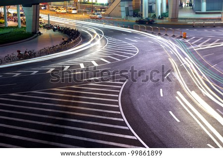 Traffic light trails at night in Shanghai