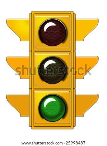 Traffic light with green light - stock photo