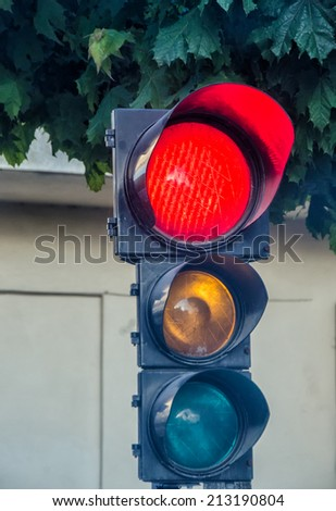Traffic light with red light. - stock photo