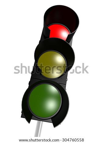 Traffic light with red on