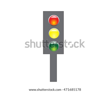 Traffic light with red, yellow and green signals on a white background