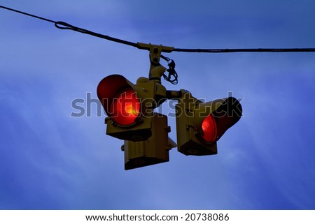 traffic lights agains blue sky - stock photo