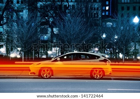 Traffic Lights and Parked Car on Side of the Road. Transportation Theme. - stock photo