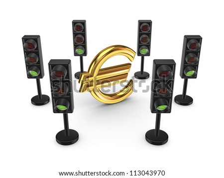 Traffic lights around euro sign.Isolated on white background.3d rendered. - stock photo