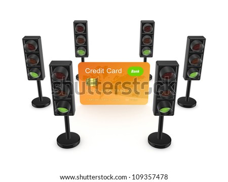 Traffic lights around orange credit card.Isolated on white background.3d rendered. - stock photo