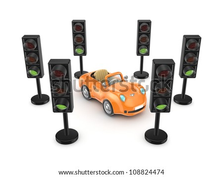 Traffic lights around orange small car.Isolated on white background.3d rendered. - stock photo