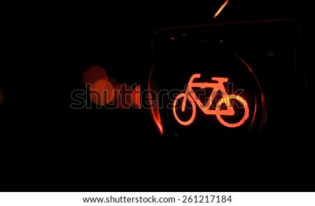 traffic lights bicycle - stock photo
