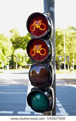traffic lights for bikes - stock photo