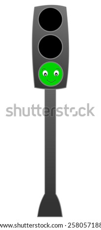Traffic lights green funny cartoon illustration