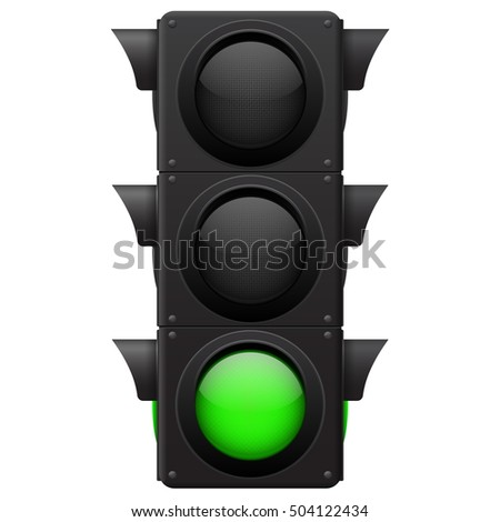 Traffic lights. Green lamp on. 3d illustration isolated on white background. Raster version