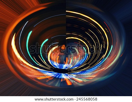 traffic lights in the night,light trace on highway,abstract light background - stock photo
