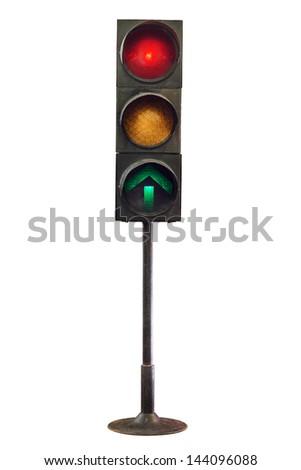 Traffic lights isolated on white background - stock photo