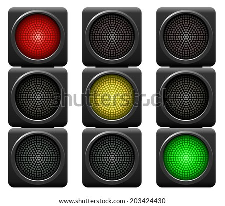 Traffic lights isolated on white background. - stock photo
