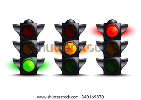 Traffic lights on green, yellow, red - stock photo