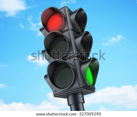 Traffic lights on sky background (done in 3d)