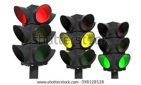 Traffic lights set, isolated on white background, 3d rendering - stock photo