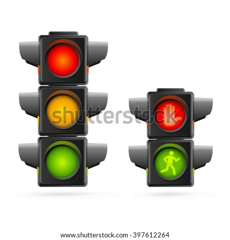 Traffic Lights Set Realistic. Three Colors and Two. illustration - stock photo