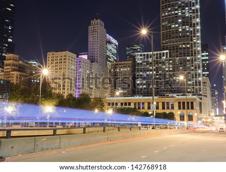 Traffic lights through downtown of Chicago - stock photo