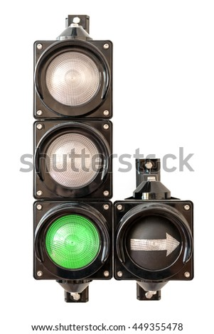Traffic lights with arrow, green light isolated on white background