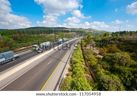Traffic on a Modern Highway in in Israel