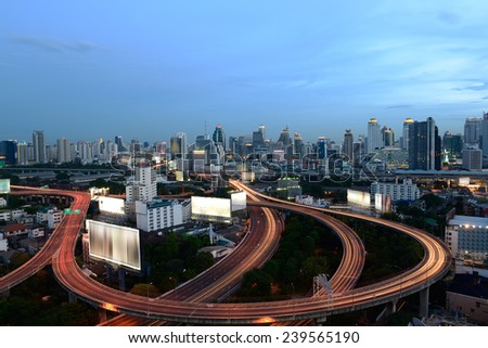 Traffic on the elevated highway in Bangkok - stock photo
