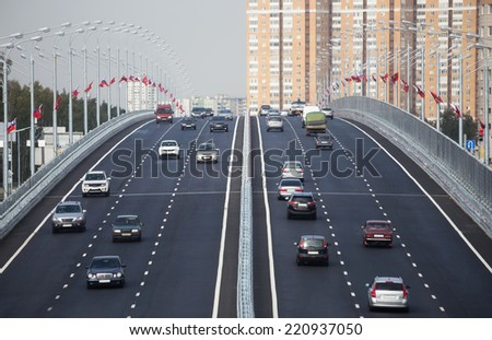 Traffic on the elevated road - stock photo