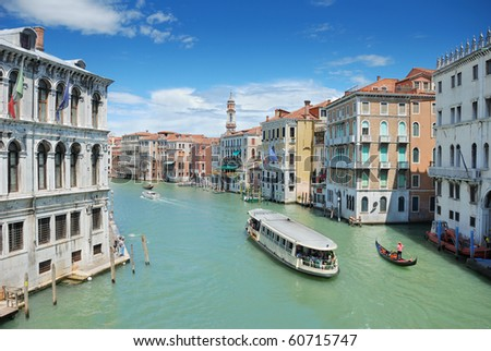 Traffic on the Grand Channel of Venice, Italia. - stock photo