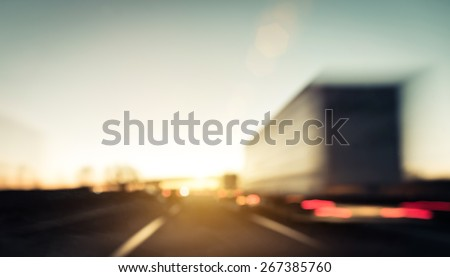Traffic on the highway. blurred image background. concept about transportation - stock photo