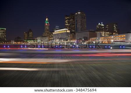 Traffic on The Rich Street Bridge in Columbus, Ohio during the holiday season - stock photo