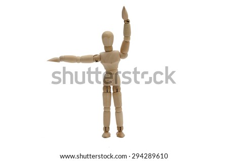 Traffic Policeman Stop Hand Signal (Front and back) Wooden figure (B) - stock photo