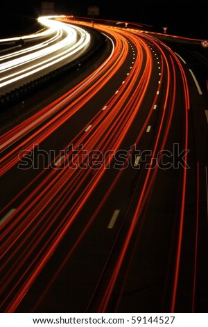traffic road by night - stock photo