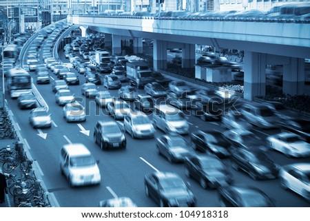 traffic rush hour  in shanghai,China - stock photo