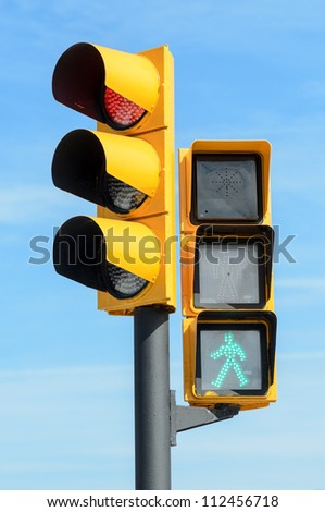 Traffic semaphore. Red light and green light. Pedestrians walking semaphore. - stock photo