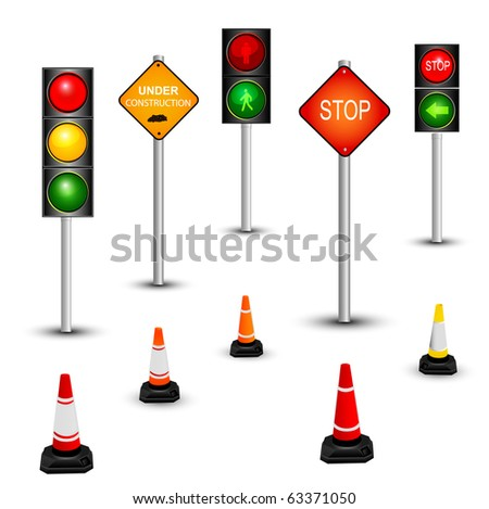 Traffic sign and traffic lamps - stock photo