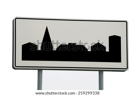 Traffic sign beginning of the village - stock photo