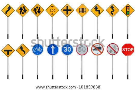 traffic sign collections - stock photo