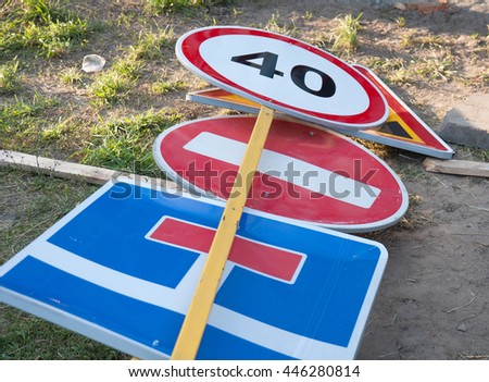 Traffic sign construction site  - stock photo