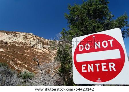 "Traffic sign ""Do not enter"" in San Luis Obispo County - stock photo"