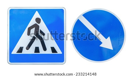 Traffic sign for pedestrian crossing and direction of priority road at intersection sign isolated on white background with clipping path / Right direction traffic signs, make a choice - stock photo