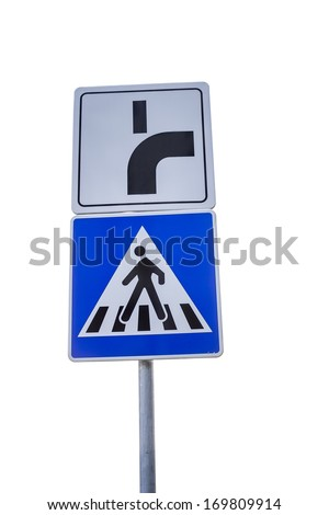 Traffic sign for pedestrian crossing and direction of priority road at intersection sign on white background with clipping path - stock photo