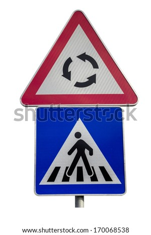 Traffic sign for pedestrian crossing and roundabout sign on white background with clipping path  - stock photo