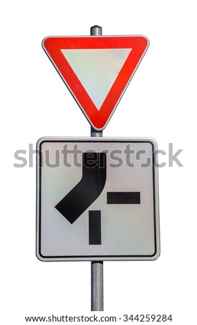 Traffic sign for priority route and give way road sign on white background with clipping path. - stock photo