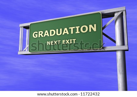 Traffic Sign - Graduation - stock photo