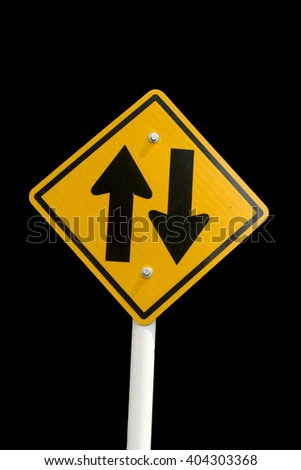 Traffic sign isolate on black background with clipping path