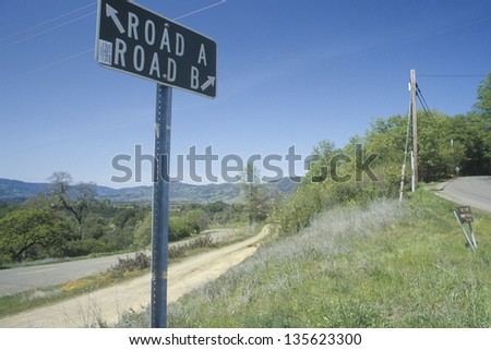 Traffic sign next to a country road