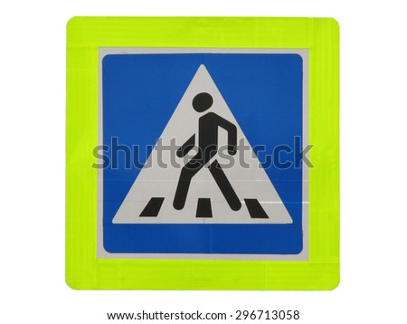 Traffic sign of crosswalk isolated on white