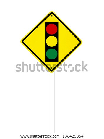 Traffic sign on a white background - stock photo